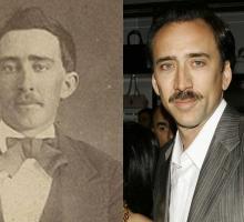 Сравнение фотографии Николоса Кейджа с фотографией времен Гражданской войны.